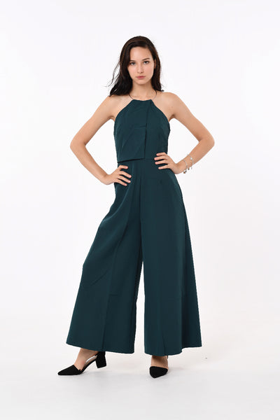 Gold Ring Neck Jumpsuit in Green