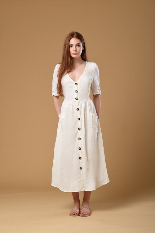 Linen Maxi Dress in White