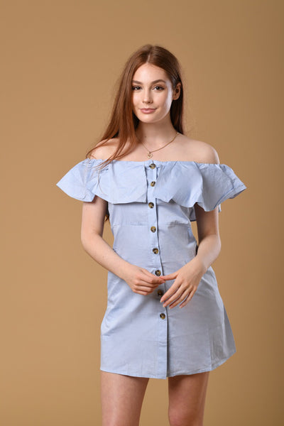 Ruffled Off Shoulder Dress In Blue