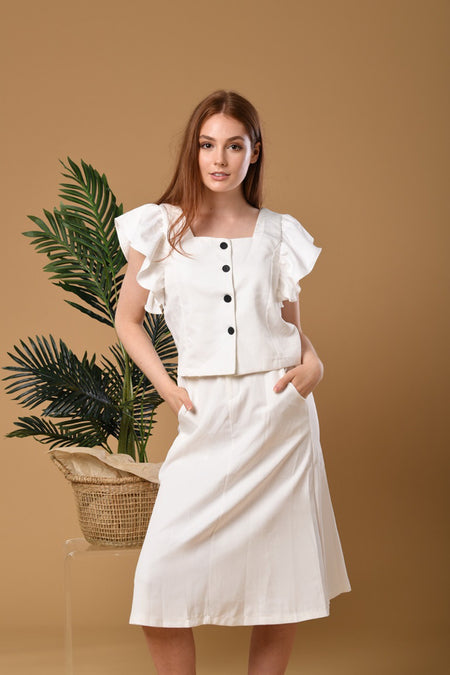 Kansey Off-shoulder Top and Skirt Set