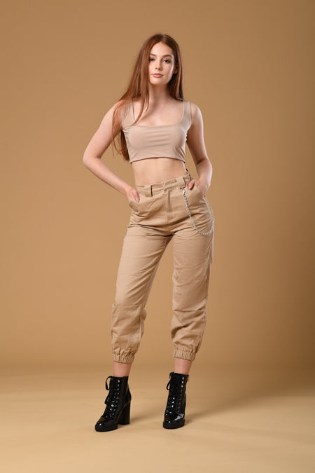 Shimmer Green Elastic Pants