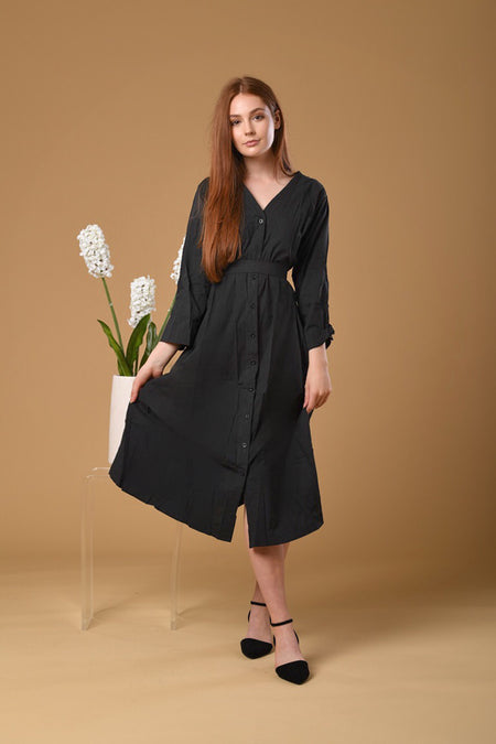 Button Linen Long Dress