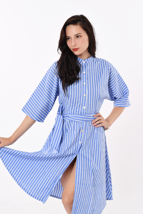 Striped Ribbon Shirt Dress