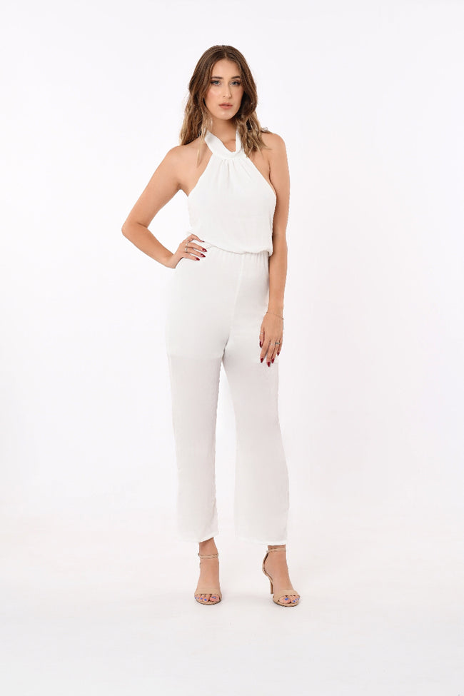 Sayra Halter-Neck Jumpsuit In White
