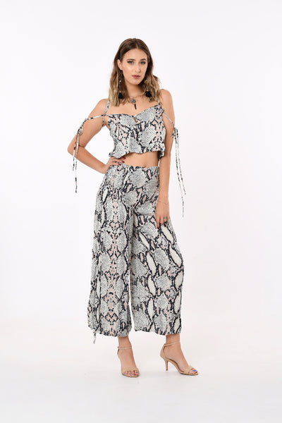 Off-Shoulder Two Piece Set In Python Print
