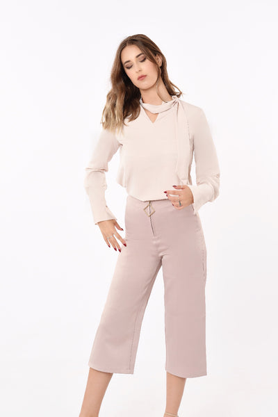 Thessy Bow Neck Top In Blush