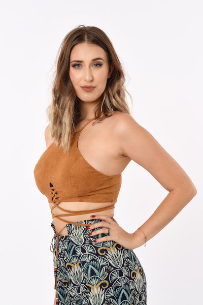 Laced Up Crop Top In Brown