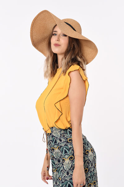 Mahalia Ruffled Top In Yellow