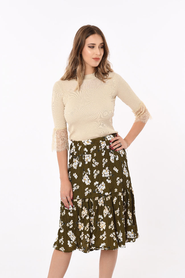Tia Mid-Length Floral Skirt