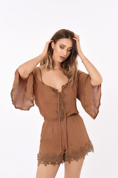 Off Shoulder Laced Romper