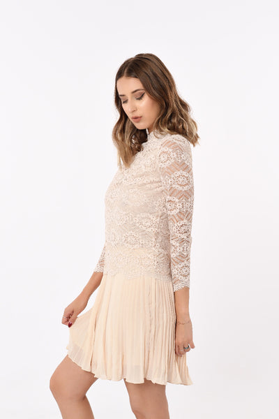 Laced High-Collar Pleated Skirt Dress