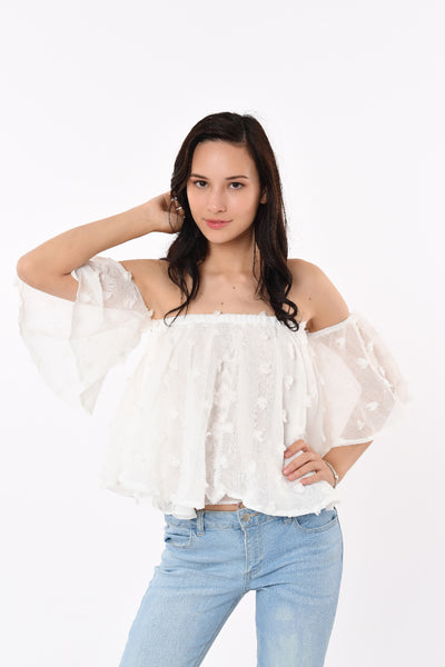 Off-Shoulder Flower Top White