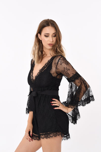 Laced Deep-V Black Romper