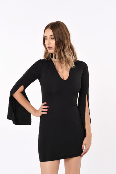 Halter Neck Wide Long Sleeve Dress In Black