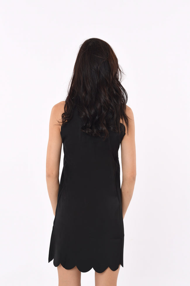 Halter neck Scallop Dress In Black