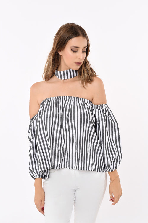 Off-Shoulder Stripe Top With Detachable Collar