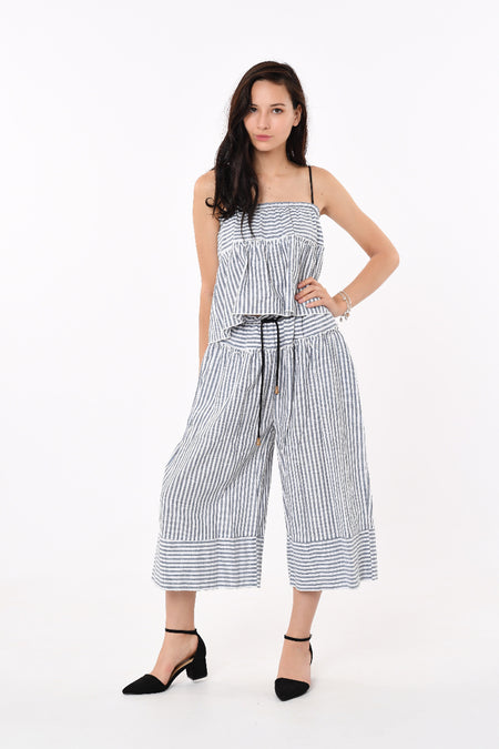 Off-Shoulder Ribbon Striped 2 Piece Set