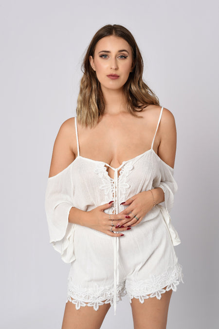 Off Shoulder Laced Romper In White