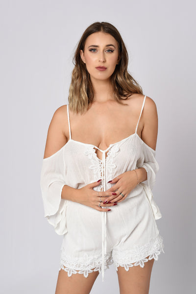 Off-Shoulder Laced Up Romper in White