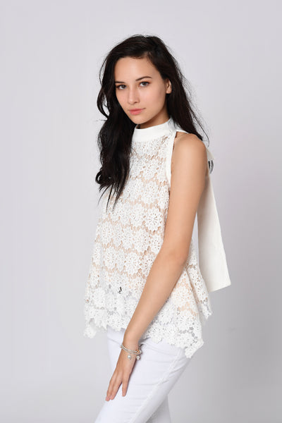 Butterfly Back Halter Neck Laced Top In White