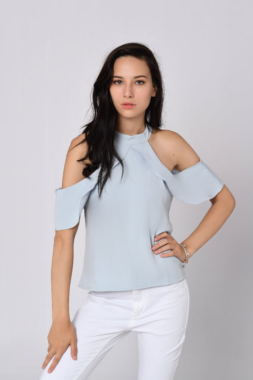 Off Shoulder Ruffled Sleeve Top In Light Blue