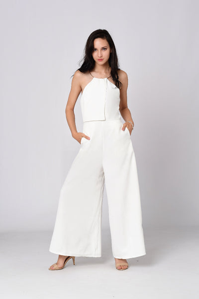 Gold Ring Neck Jumpsuit In White