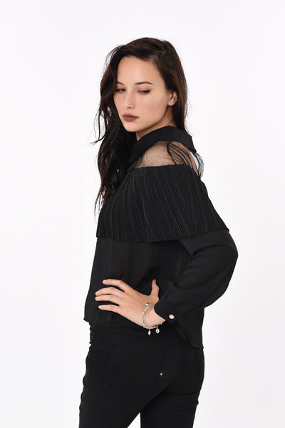 Pleated Collar Top in Black