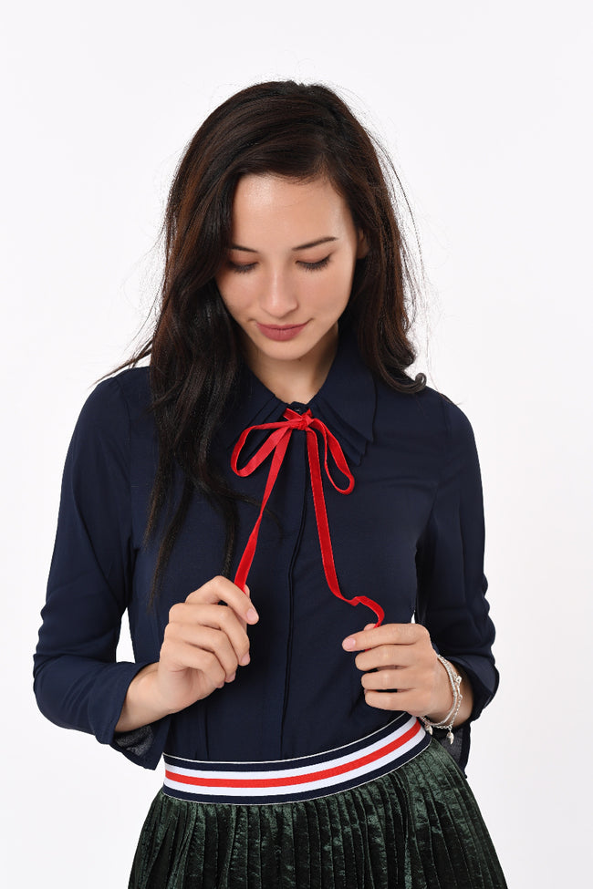 Shirt top with Ribbon in Blue