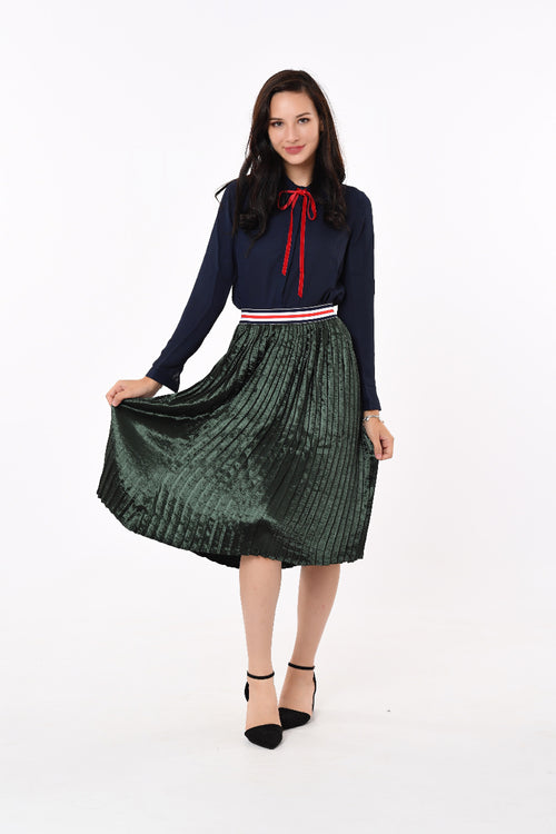 Pleated Waist Band Skirt in Green