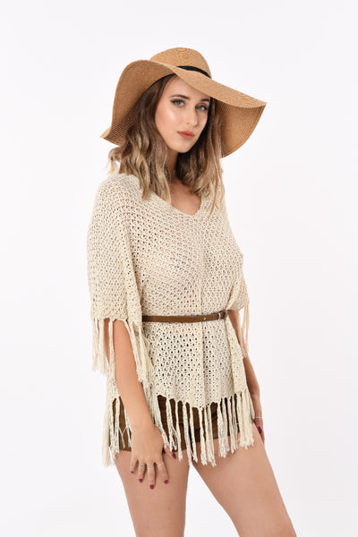 Knitted Beach Top With Belt in Cream