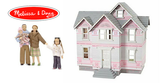Shop melissa and Doug Victorian heirloom classic pink white doll house dollhouse dolls accessories furniture largest selection people figures