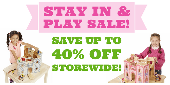 Stay in and play sale.  Save up to 40% off everything storewide.  Free shipping