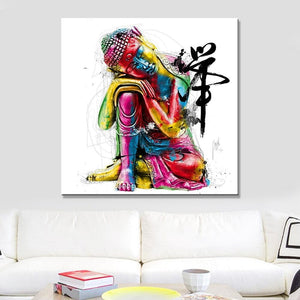 Abstract Buddha Canvas Wall Art - Blue Buddha Store