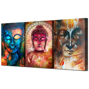 Buddha Portrait Wall Art (3 Piece Set) - Blue Buddha Store