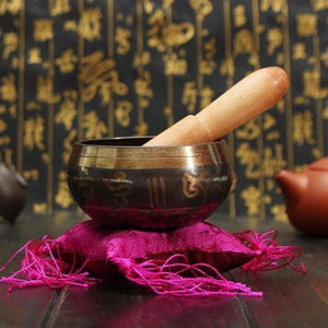 Hammered Singing Bowl Set (Purple Pillow) - Blue Buddha Store