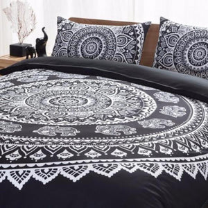 Mandala Duvet & Pillow Case Set (Black)