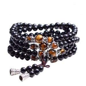 Black Tiger Eye Crystal Mala Beads (108 Beads) - Blue Buddha Store