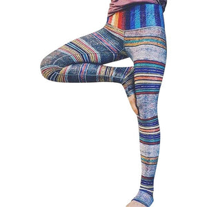 Retro Striped Yoga Leggings