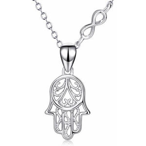 Hamsa Hand Sterling Sliver Necklace - Blue Buddha Store