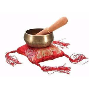 Hammered Singing Bowl Set (Red Pillow) - Blue Buddha Store