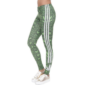 Stylish Green Leaf Design Leggings