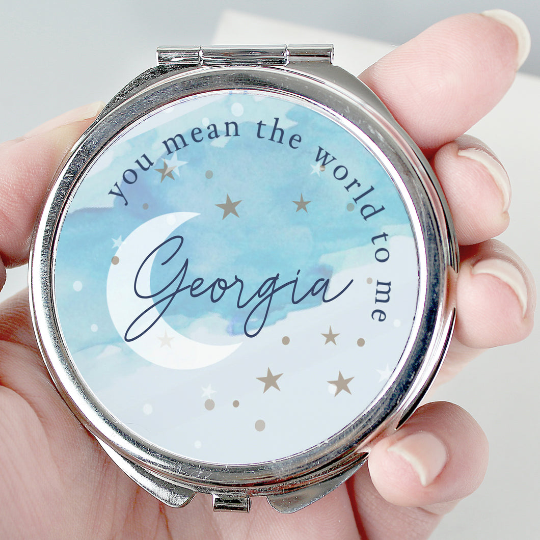 Personalised You Mean The World To Me Compact Mirror