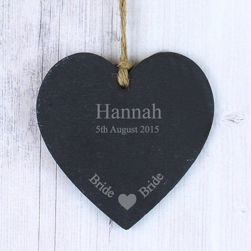 Personalised Bride Slate Heart Decoration