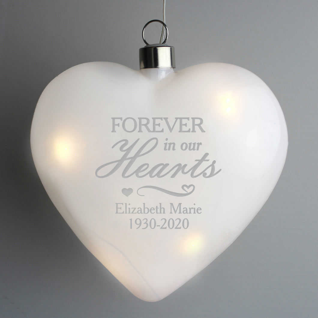 Personalised Forever In Our Hearts LED Hanging Glass Heart