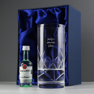 Personalised Cut Crystal Bacardi Set