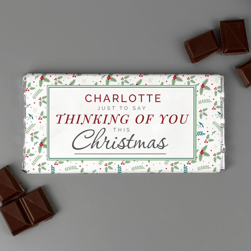 Personalised Thinking of You Christmas Milk Chocolate Bar
