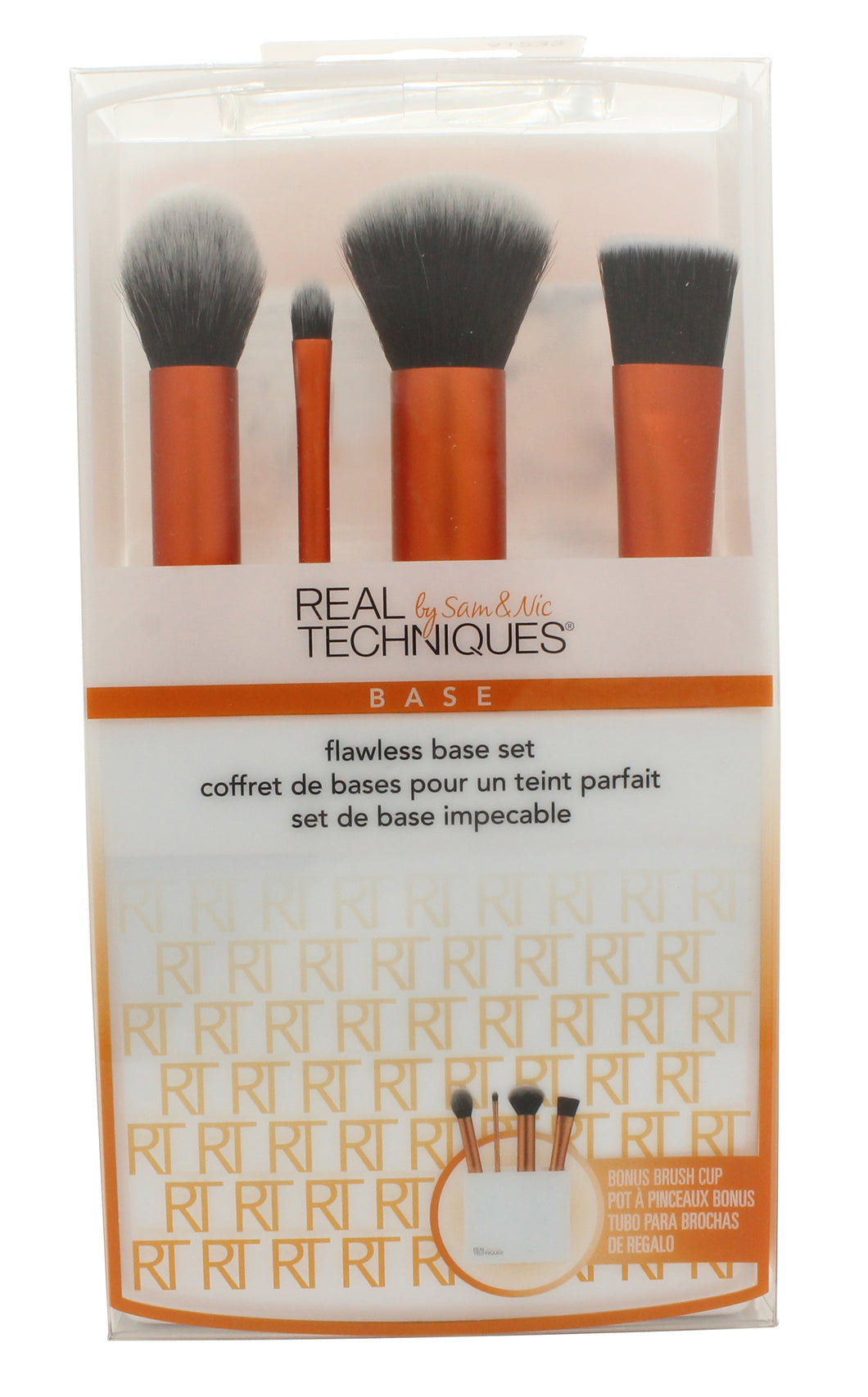 Real Techniques Flawless Base Gift Set 5 Pieces (1 x Contour Brush 1 x Detailer Brush 1 x Buffing Brush 1 x Square Foundation Brush 1 x Brush Cup Holder)