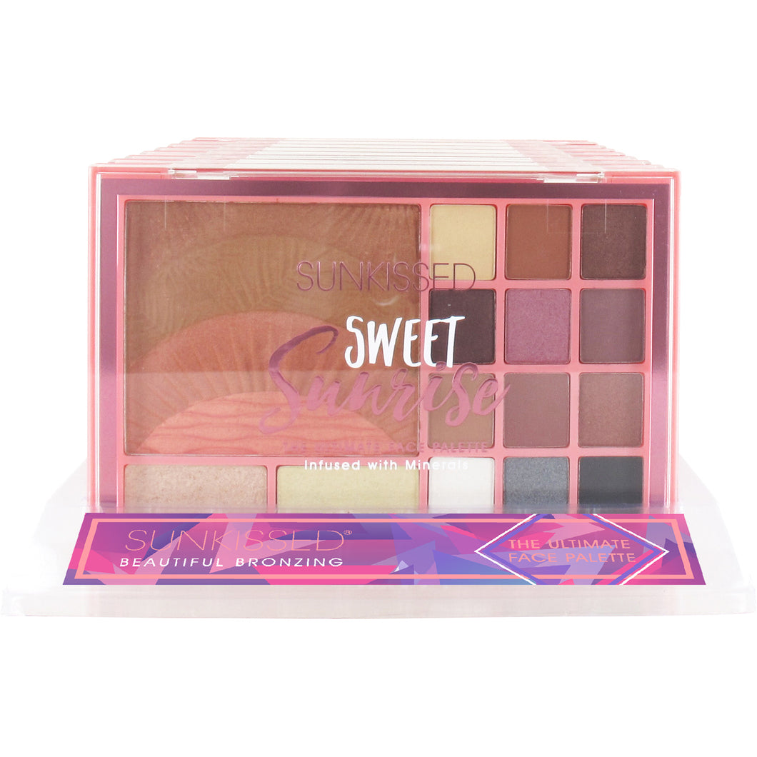 Sunkissed Sweet Sunrise Ultimate Face Palette Gift Set 15 Pieces (12 x 0.95g Eyeshadows 2 x 1.75g Highlighters 17.5g Bronzer/Blusher)