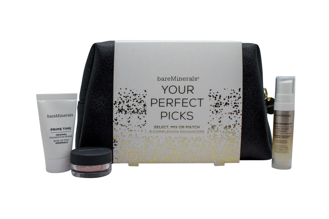 bareMinerals Your Perfect Picks Gift Set 15ml Primer + 0.75g Finishing Powder + 25ml Face Serum + Makeup Bag
