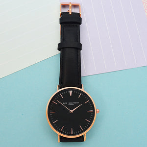 Modern - Vintage Personalised Leather Watch in Black
